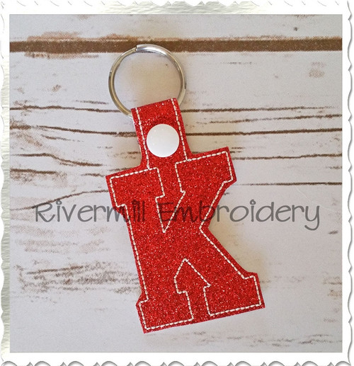 Letter K In The Hoop Snap Tab Key Fob Machine Embroidery Design