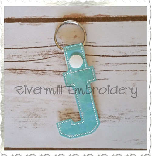 Letter J In The Hoop Snap Tab Key Fob Machine Embroidery Design
