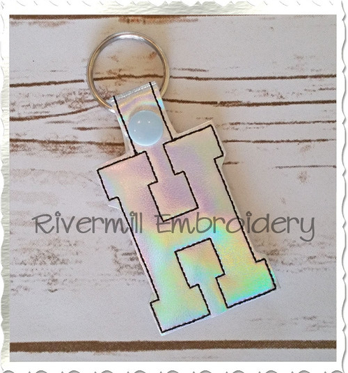 Letter H In The Hoop Snap Tab Key Fob Machine Embroidery Design