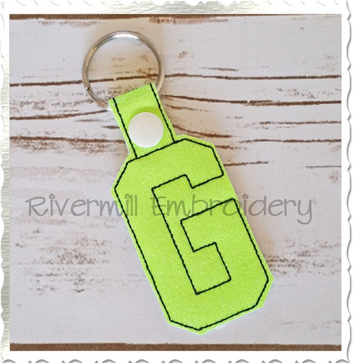 Letter G In The Hoop Snap Tab Key Fob Machine Embroidery Design