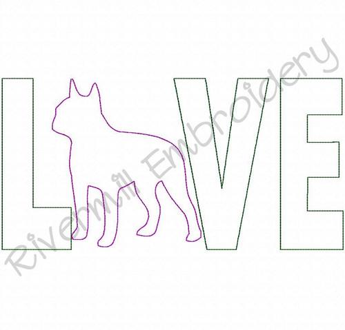 Raggy Applique Boston Terrier Love Machine Embroidery Design