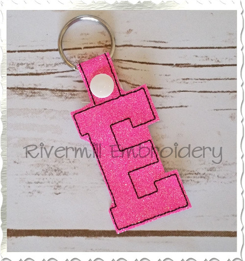 Letter E In The Hoop Snap Tab Key Fob Machine Embroidery Design