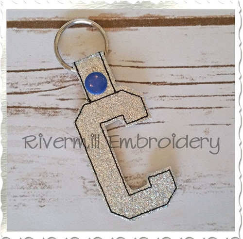 Letter C In The Hoop Snap Tab Key Fob Machine Embroidery Design