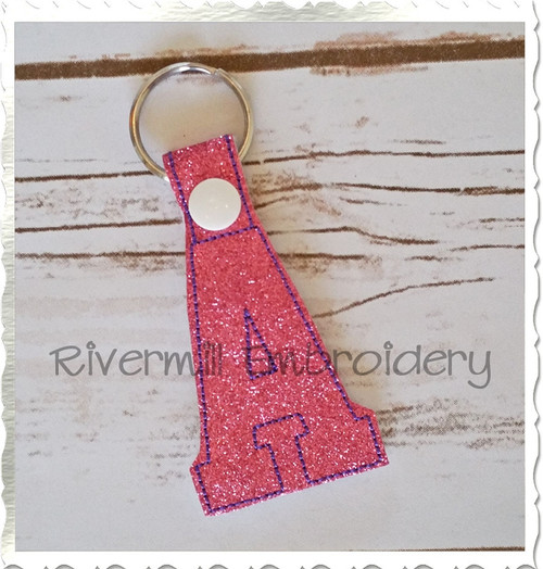 Letter A In The Hoop Snap Tab Key Fob Machine Embroidery Design