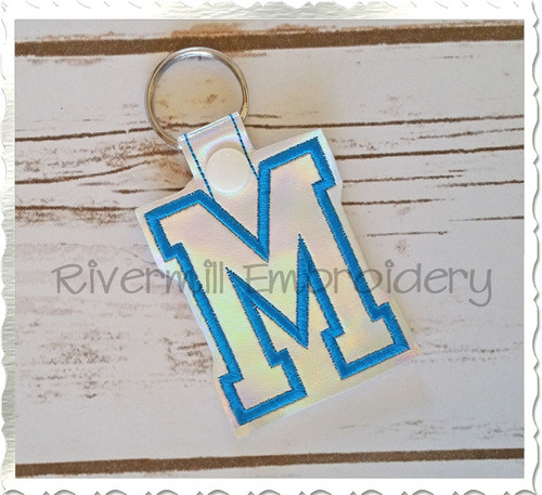 Letter M In The Hoop Snap Tab Key Fob Machine Embroidery Design (Verision 2)