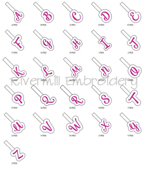 Set of 26 Initials Script Letters In The Hoop Snap Tab Key Fob Machine Embroidery Designs