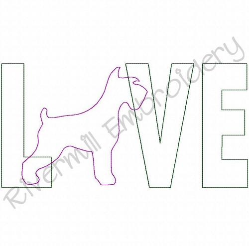 Raggy Applique Schnauzer Love Machine Embroidery Design