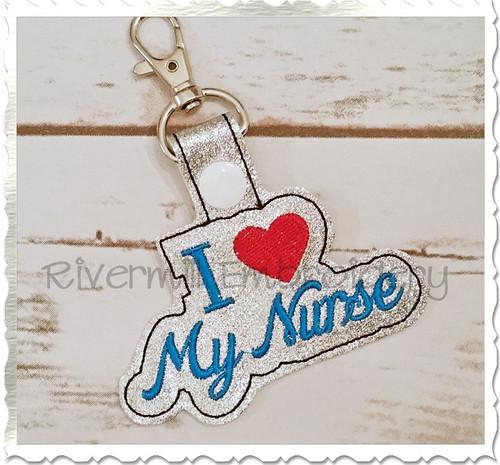 I Love My Nurse In The Hoop Snap Tab Key Fob Machine Embroidery Design