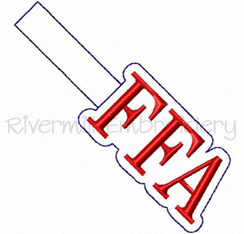 FFA In The Hoop Snap Tab Key Fob Machine Embroidery Design