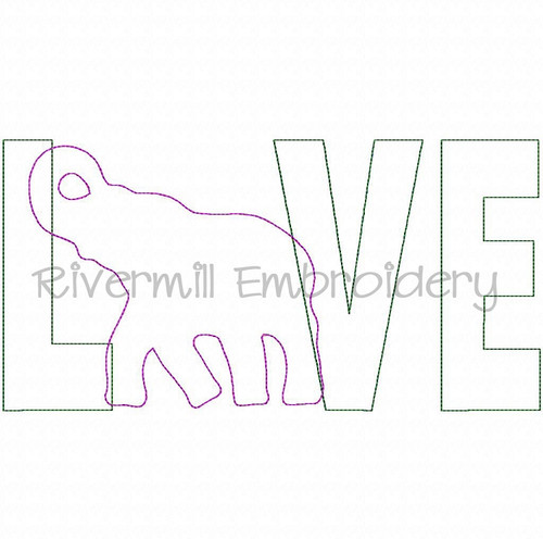 Raggy Applique Elephant Love Machine Embroidery Design