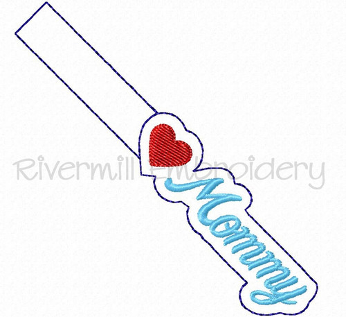 Heart Mommy In The Hoop Snap Tab Key Fob Machine Embroidery Design