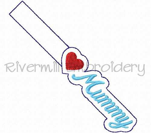 Heart Mummy In The Hoop Snap Tab Key Fob Machine Embroidery Design
