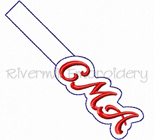 CMA In The Hoop Snap Tab Key Fob Machine Embroidery Design