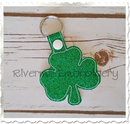 Shamrock In The Hoop Snap Tab Key Fob Machine Embroidery Design