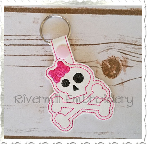Skull With A Bow In The Hoop Snap Tab Key Fob Machine Embroidery Design
