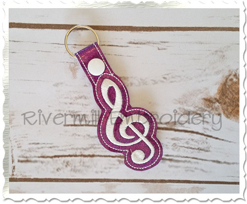 Treble Clef In The Hoop Snap Tab Key Fob Machine Embroidery Design