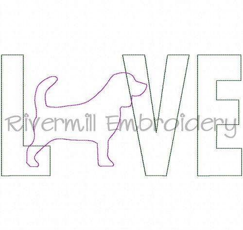 Raggy Applique Beagle Love Machine Embroidery Design