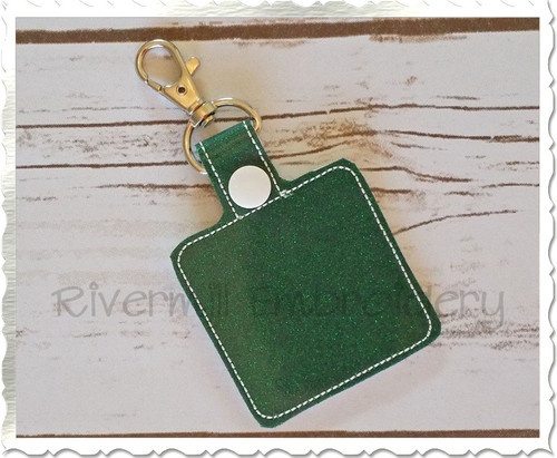 Blank Square In The Hoop Snap Tab Key Fob Machine Embroidery Design
