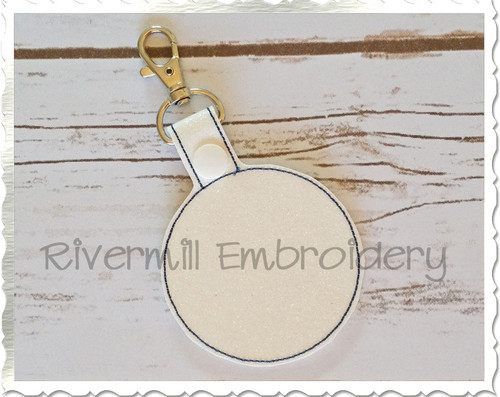 Blank Circle In The Hoop Snap Tab Key Fob Machine Embroidery Design