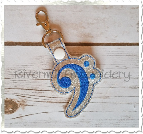 Bass Clef In The Hoop Snap Tab Key Fob Machine Embroidery Design