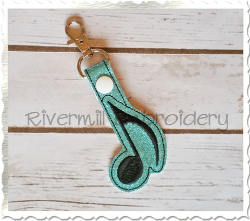 Music Note In The Hoop Snap Tab Key Fob Machine Embroidery Design