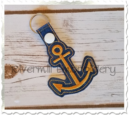 Anchor In The Hoop Snap Tab Key Fob Machine Embroidery Design