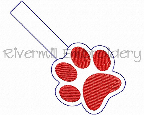 Filled In Paw Print In The Hoop Snap Tab Key Fob Machine Embroidery Design