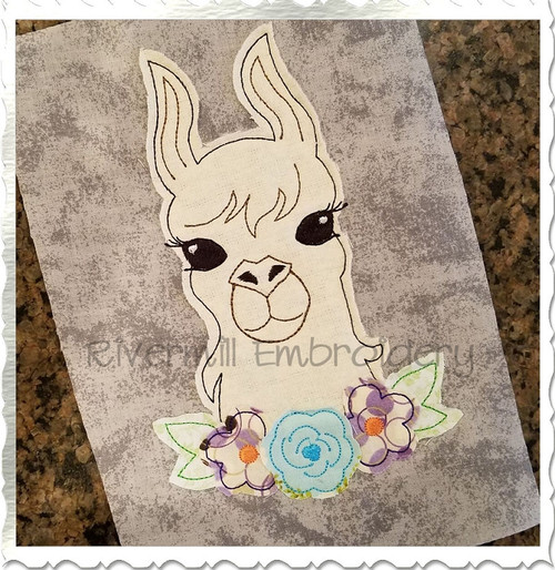 Raggy Applique Llama with Flowers Machine Embroidery Design