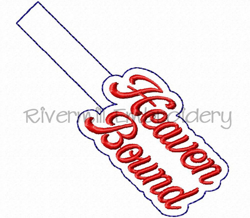 Heaven Bound In The Hoop Snap Tab Key Fob Machine Embroidery Design