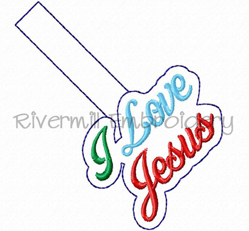 I Love Jesus In The Hoop Snap Tab Key Fob Machine Embroidery Design