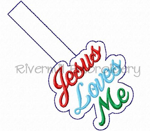 Jesus Loves Me In The Hoop Snap Tab Key Fob Machine Embroidery Design