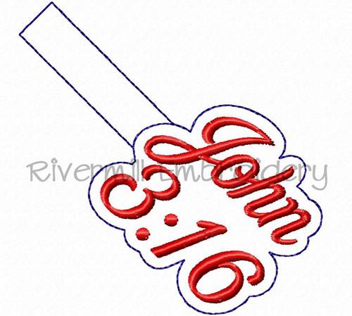 John 3:16 In The Hoop Snap Tab Key Fob Machine Embroidery Design
