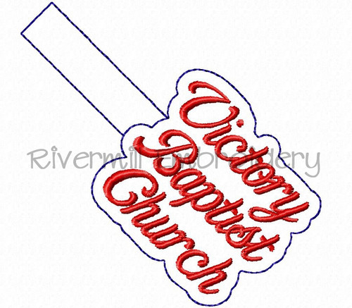 Victory Baptist Church In The Hoop Snap Tab Key Fob Machine Embroidery Design