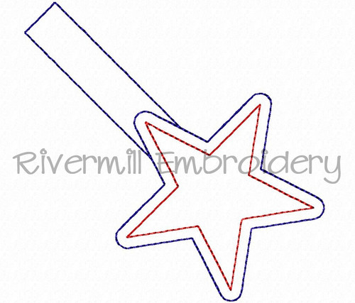 Star Outline In The Hoop Snap Tab Key Fob Machine Embroidery Design