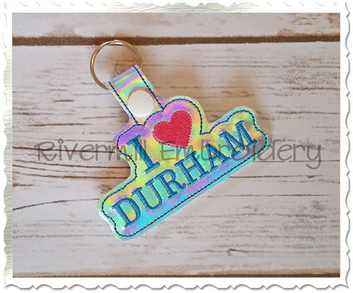 I Love Durham In The Hoop Snap Tab Key Fob Machine Embroidery Design