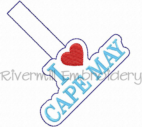 I Love Cape May In The Hoop Snap Tab Key Fob Machine Embroidery Design
