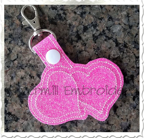 Two Hearts In The Hoop Snap Tab Key Fob Machine Embroidery Design