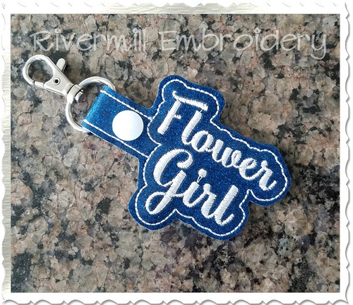 Flower Girl In The Hoop Snap Tab Key Fob Machine Embroidery Design