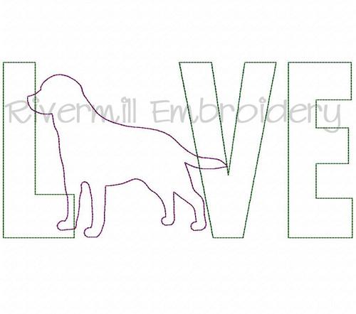 Raggy Applique Labrador Love Machine Embroidery Design