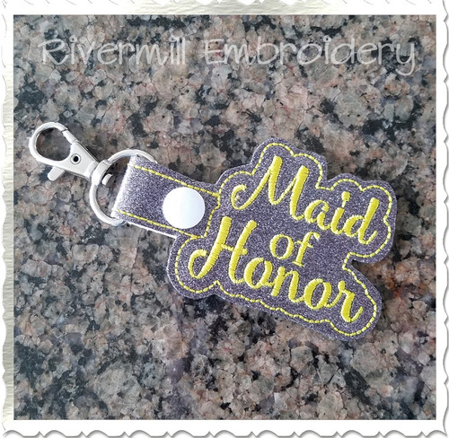 Maid of Honor In The Hoop Snap Tab Key Fob Machine Embroidery Design