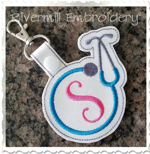 Stethoscope Frame In The Hoop Snap Tab Key Fob Machine Embroidery Design