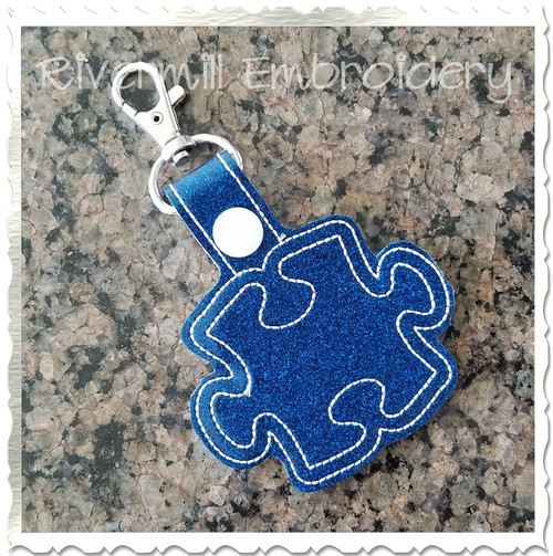 Autism Puzzle Piece In The Hoop Snap Tab Key Fob Machine Embroidery Design