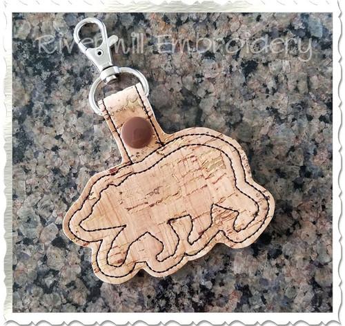 Walking Bear In The Hoop Snap Tab Key Fob Machine Embroidery Design