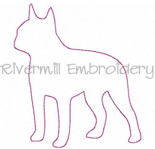 Raggy Applique Boston Terrier Machine Embroidery Design