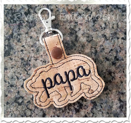 Papa Bear In The Hoop Snap Tab Key Fob Machine Embroidery Design