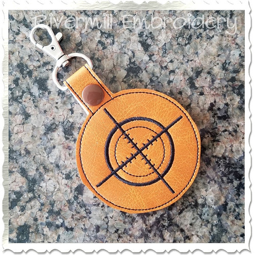 Gun Sight In The Hoop Snap Tab Key Fob Machine Embroidery Design