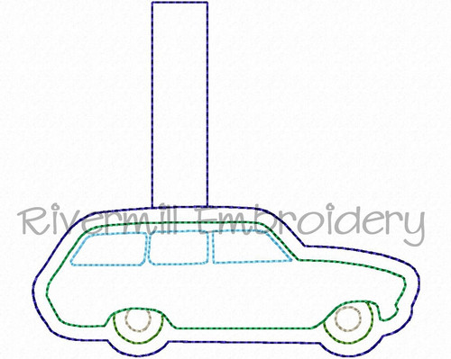 Vintage Style Station Wagon In The Hoop Snap Tab Key Fob Machine Embroidery Design