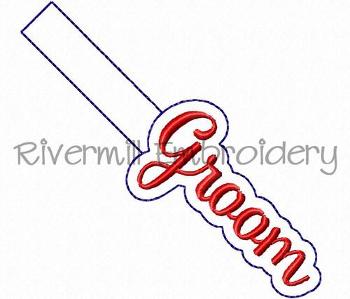 Groom In The Hoop Snap Tab Key Fob Machine Embroidery Design