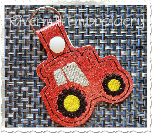 Tractor In The Hoop Snap Tab Key Fob Machine Embroidery Design