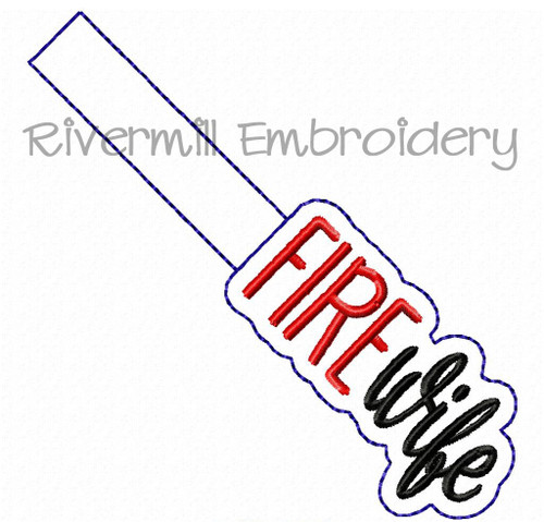 Fire Wife In The Hoop Snap Tab Key Fob Machine Embroidery Design